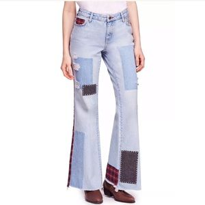 We The Free Patched Plaid Mixed Slim Flare Jeans